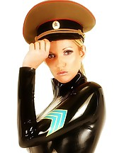 Blonde cop in latex