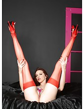 Red lingerie and stockings