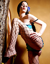 Teal bikini and fishnets