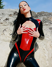 Hot and horny in my latex catsuit