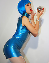 Futuristic babe in shiny blue latex