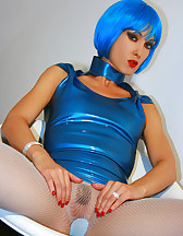 Futuristic babe in shiny blue latex