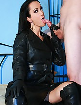 Leather sex with a messy cumshot