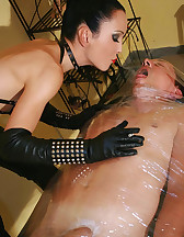 Wrapped smoking slave for her fun
