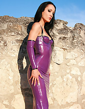 Sensual latex tease in the sun