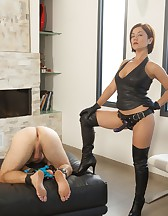 Fucking Her Slave with a Strap-On!