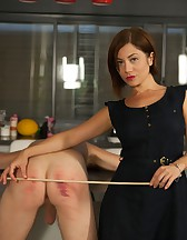 Goddess Ella Kross Canes Her Slave's Bare Ass!