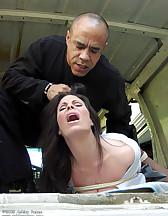 Women captured to the van