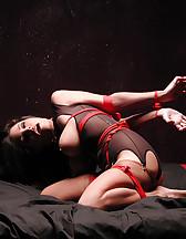 Bondage in a bedroom