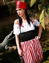 Naughty pirate girl outdoors