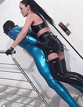 Rubber strap-on training, pt.2