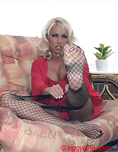Footjob in fishnets, pic #2