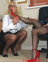 Two sluts in office, pic #4