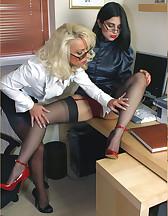 Two sluts in office, pic #5