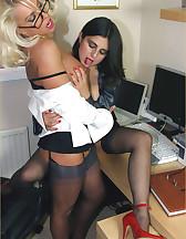 Two sluts in office, pic #10