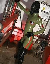 Masturbation in latex catsuit, pic #3