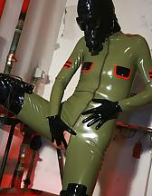 Masturbation in latex catsuit, pic #7