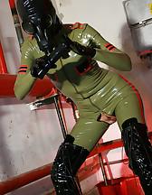 Masturbation in latex catsuit, pic #10