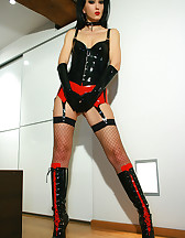 Sexy black and red latex lingerie, pic #1