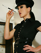 Kinky and smoking female officer, pic #5