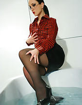 Horny and soaking wet secretary, pic #3