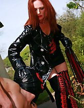Mature redhead dominates slave, pic #6