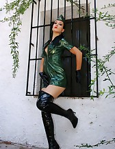 Military girl in sexy PVC uniform, pic #1