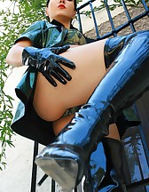 Military girl in sexy PVC uniform, pic #11