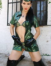 Military girl in sexy PVC uniform, pic #12