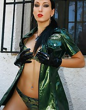 Military girl in sexy PVC uniform, pic #13