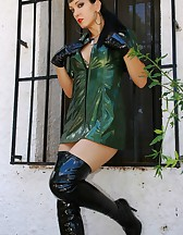 Military girl in sexy PVC uniform, pic #2