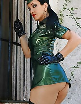 Military girl in sexy PVC uniform, pic #6