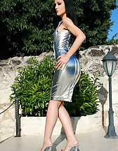 Seduction in a silver PVC dress, pic #1