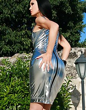 Seduction in a silver PVC dress, pic #5