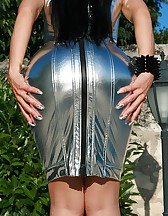 Seduction in a silver PVC dress, pic #6