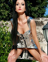 Seduction in a silver PVC dress, pic #9