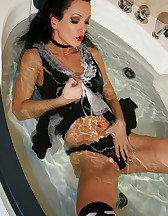 French maid plays in the bathtub, pic #12