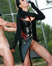 Cigar smoking Mistress uses slave, pic #11