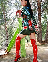 Mistress in glossy plastic outfit, pic #4