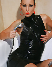 Soaking wet in tight black rubber, pic #13