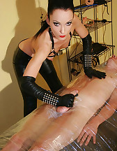 Wrapped smoking slave for her fun, pic #11