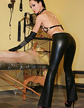 Wrapped smoking slave for her fun, pic #2