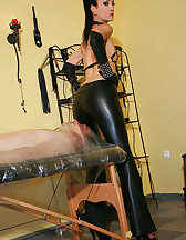 Wrapped smoking slave for her fun, pic #7