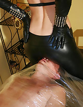Wrapped smoking slave for her fun, pic #8