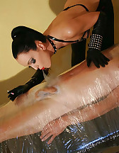 Wrapped smoking slave for her fun, pic #9