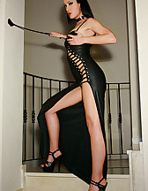 Classic Mistress in long leather, pic #7