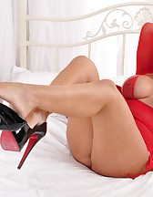 Red Lingerie And Killer Heels, pic #2
