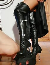 Leather Domina uses sub as ashtray, pic #14