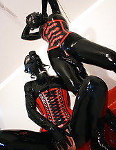 Horny lesbian hooded rubber dolls, pic #13