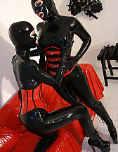 Horny lesbian hooded rubber dolls, pic #6
